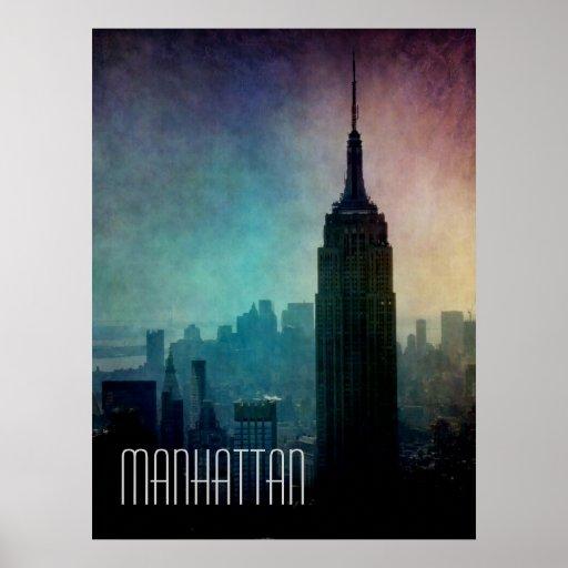 Empire State Building en la oscuridad Póster
