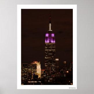 Empire State Building en púrpura y el blanco 01 Posters