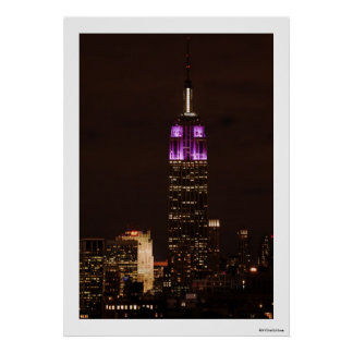 Empire State Building en púrpura y el blanco 01 Póster