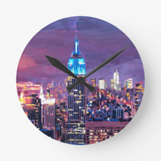 Empire State Building Feeling Like A Blue Giant Round Clocks