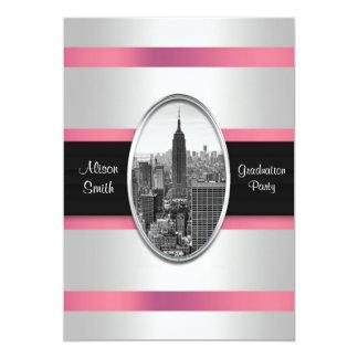 Empire State Building Graduation Invite White Pink