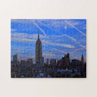 Empire State Building, horizonte de NYC y rastros Puzzle Con Fotos
