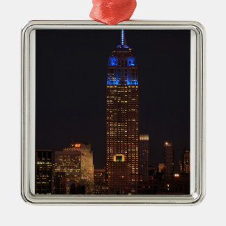 Empire State Building in Blue, 30 Rock #02 Square Metal Christmas Ornament