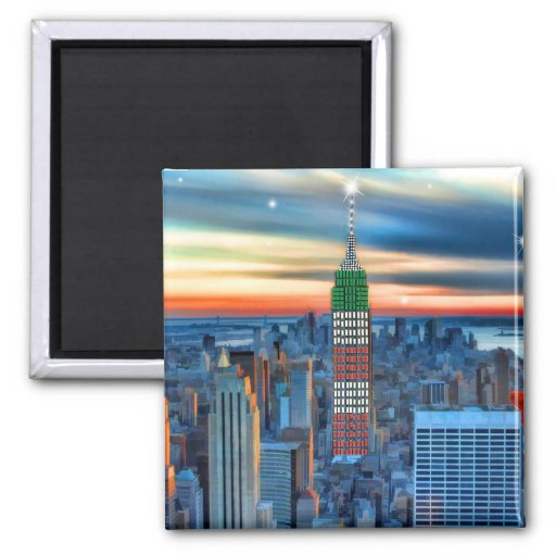 Empire State Building in Holiday Lights Fridge Magnets