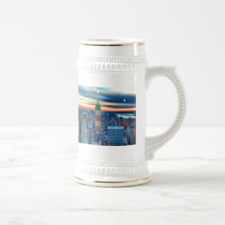 Empire State Building in Holiday Lights 18 Oz Beer Stein