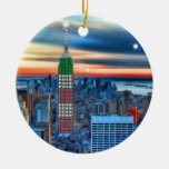 Empire State Building in Holiday Lights Double-Sided Ceramic Round Christmas Ornament