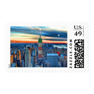 Empire State Building in Holiday Lights Stamp