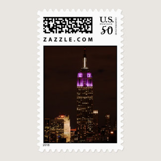 Empire State Building in Purple & White 01 Postage
