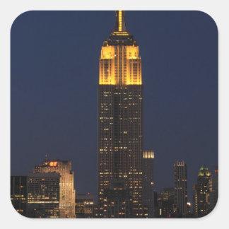 Empire State Building in Yellow 01 Square Sticker