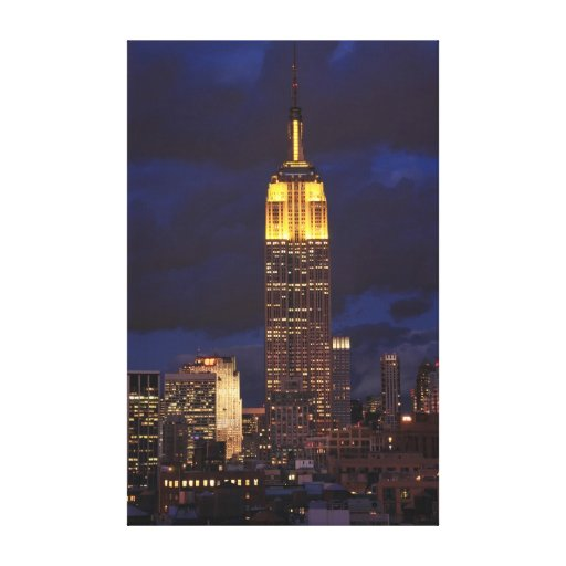 Empire State Building in Yellow, Twilight Sky 01 Canvas Print