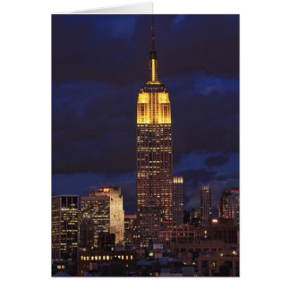 Empire State Building in Yellow, Twilight Sky 01 Greeting Card