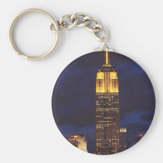 Empire State Building in Yellow, Twilight Sky 01 Keychain