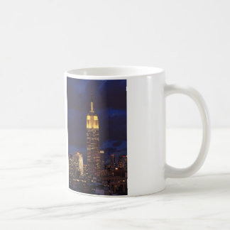 Empire State Building in Yellow, Twilight Sky 01 Classic White Coffee Mug