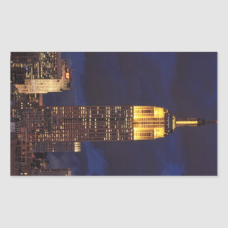 Empire State Building in Yellow, Twilight Sky 01 Rectangular Sticker