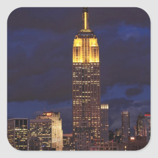 Empire State Building in Yellow, Twilight Sky 01 Square Sticker