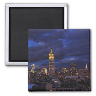 Empire State Building in Yellow, Twilight Sky 02 2 Inch Square Magnet