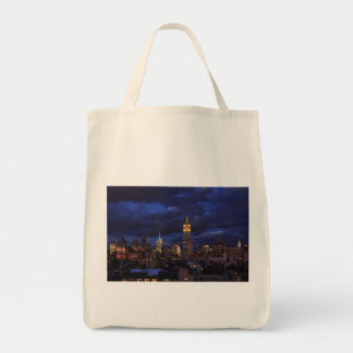 Empire State Building in Yellow, Twilight Sky 02 Canvas Bags