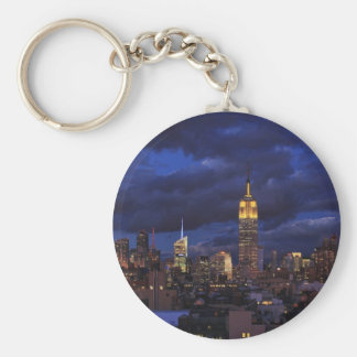 Empire State Building in Yellow, Twilight Sky 02 Basic Round Button Keychain