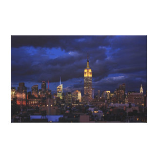 Empire State Building in Yellow, Twilight Sky 02 Canvas Print