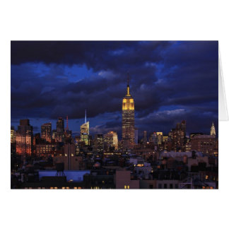 Empire State Building in Yellow, Twilight Sky 02 Greeting Cards