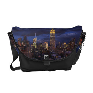 Empire State Building in Yellow, Twilight Sky 02 Messenger Bag