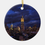 Empire State Building in Yellow, Twilight Sky 02 Christmas Ornament
