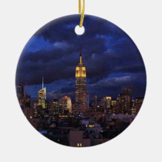 Empire State Building in Yellow, Twilight Sky 02 Double-Sided Ceramic Round Christmas Ornament