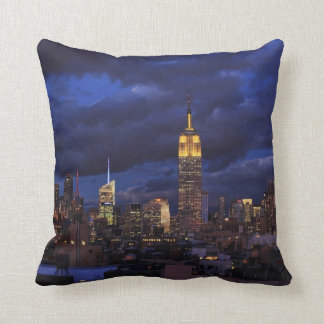 Empire State Building in Yellow, Twilight Sky 02 Throw Pillow