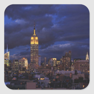 Empire State Building in Yellow, Twilight Sky 02 Square Sticker