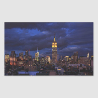 Empire State Building in Yellow, Twilight Sky 02 Rectangular Sticker