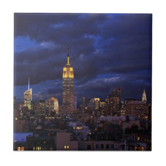 Empire State Building in Yellow, Twilight Sky 02 Small Square Tile