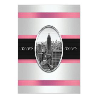 Empire State Building Invite White Pink RSVP