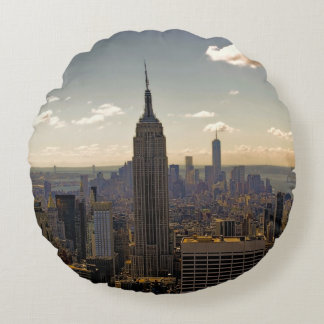 Empire State Building Landscape Round Pillow
