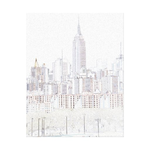 Empire State Building line drawing Gallery Wrapped Canvas
