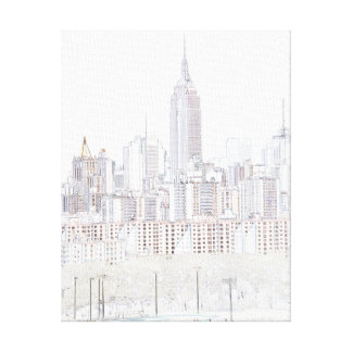 Empire State Building line drawing Canvas Print