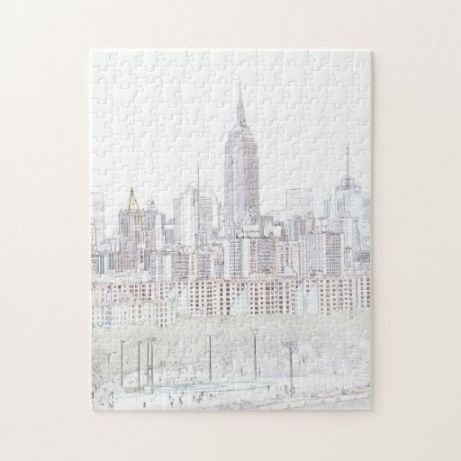 Line Drawing Crossword Clue : Empire state building line drawing jigsaw puzzle zazzle