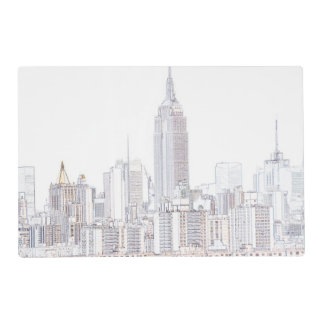 Empire State Building line drawing Placemat