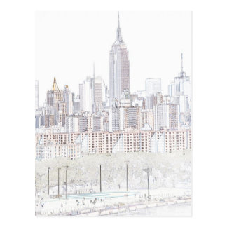 Empire State Building line drawing Postcard
