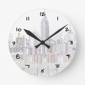 Empire State Building line drawing Round Clock