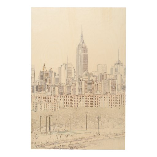 Line Drawing Wall Art : Empire state building line drawing wood wall art zazzle