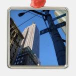 Empire State Building Manhattan Adorno Cuadrado Plateado