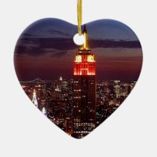 Empire State Building Nueva York Adorno Navideño De Cerámica En Forma De Corazón