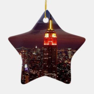 Empire State Building Nueva York Adorno Navideño De Cerámica En Forma De Estrella