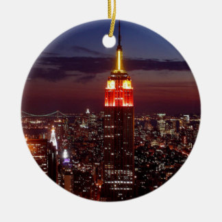 Empire State Building Nueva York Adorno Navideño Redondo De Cerámica