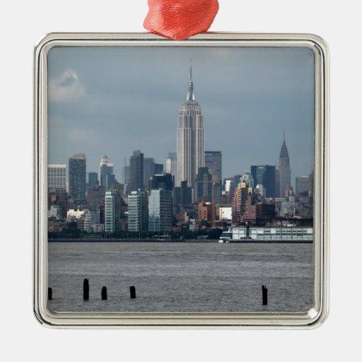 Empire State Building Nueva York los E.E.U.U. Adorno Cuadrado Plateado