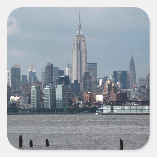 Empire State Building Nueva York los E.E.U.U. Pegatina Cuadrada