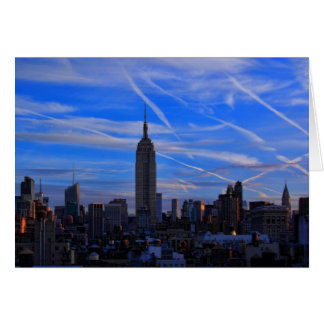 Empire State Building, NYC Skyline and Jet Trails Card