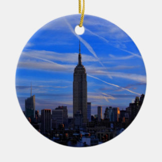 Empire State Building, NYC Skyline and Jet Trails Ceramic Ornament