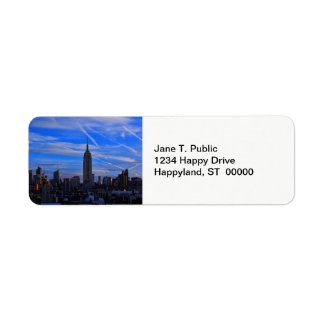 Empire State Building, NYC Skyline and Jet Trails Label