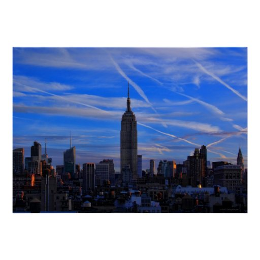 Empire State Building, NYC Skyline and Jet Trails Poster